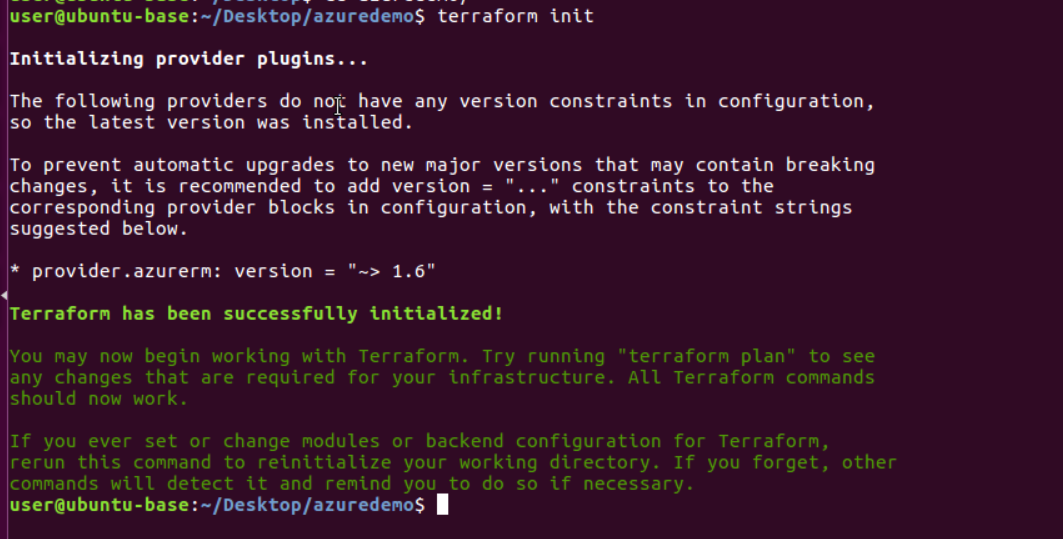 Install providers using terraform init