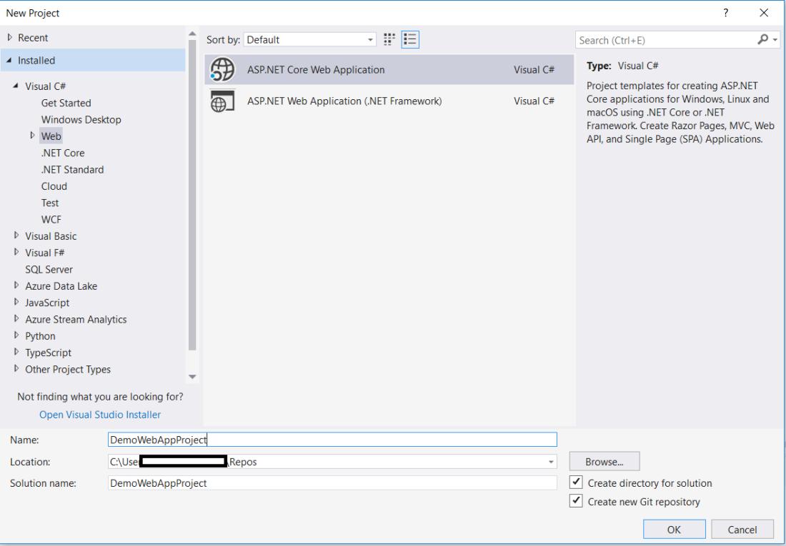 Create an asp.net core web app project using Visual Studio