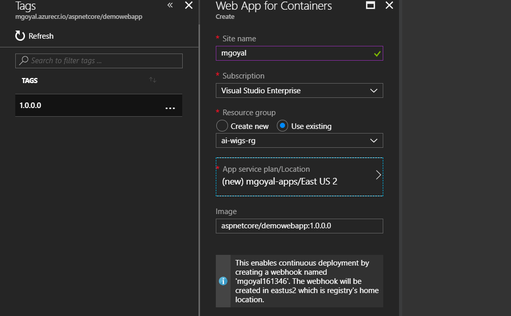 Fill in azure web app details