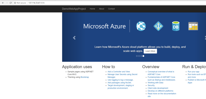 Verify you can access the application in azure