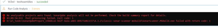 sonarqube code analysis task failed
