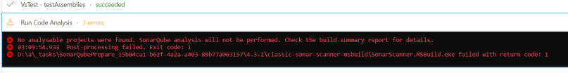 sonarqube code analysis task failed