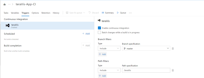 Specifying inclusion path in the build definition - 2