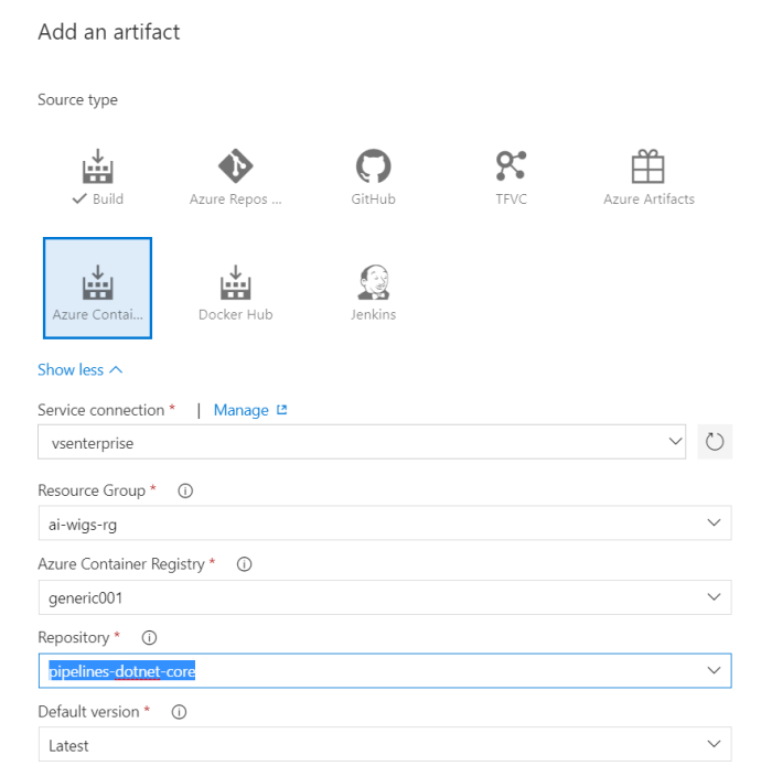 add a azure container image type artifact