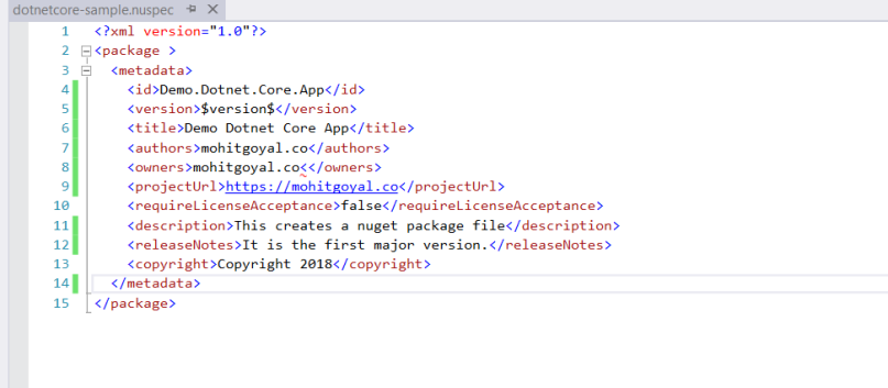 add a nuget package manifest file to your project