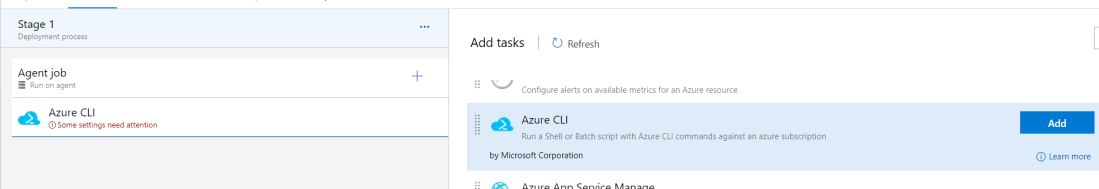 add azure cli task from the list