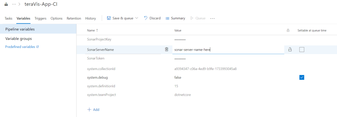 add encrypted variables in the azure devops pipeline