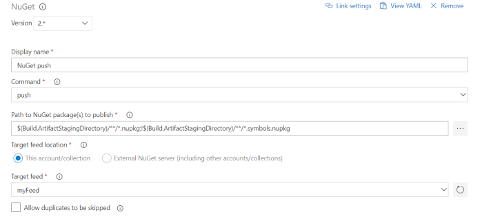 configure nuget push task to publish package