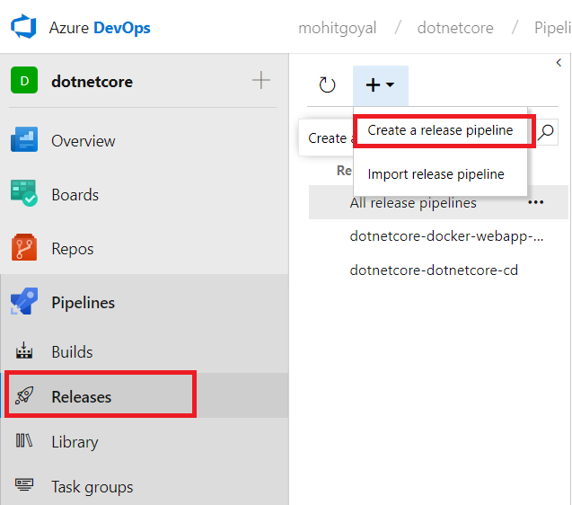 create a new azure release pipeline