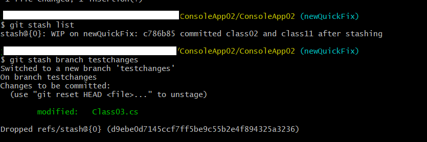 create a new branch using git stashed changes