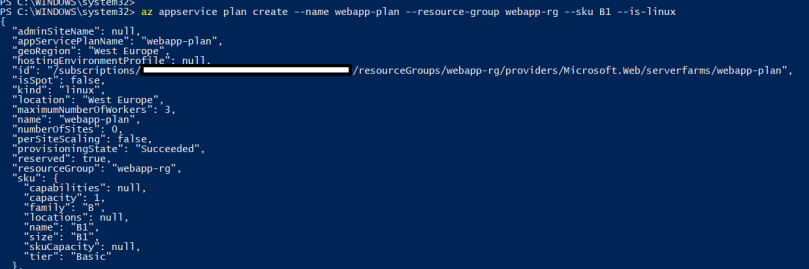 create app service plan using azure cli commands - 2