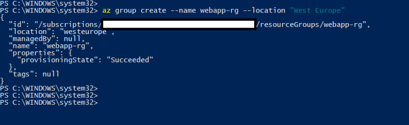 Create resource group using azure cli commands