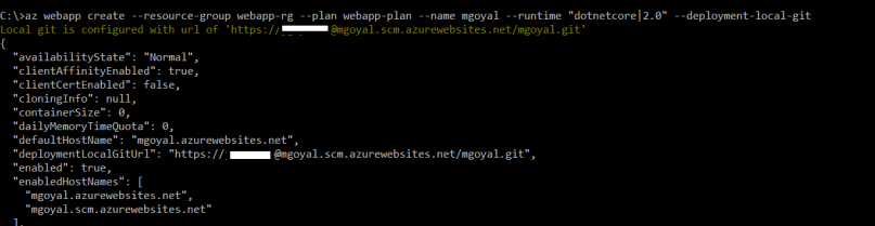 create azure web app with azure cli command