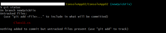 git status with uncommitted changes