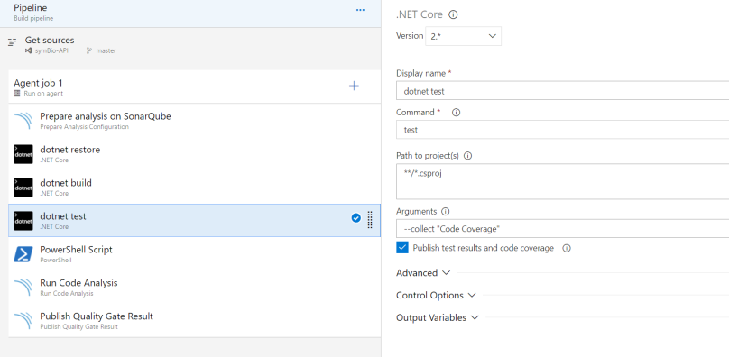 include dotnet test task to run test cases and gather data
