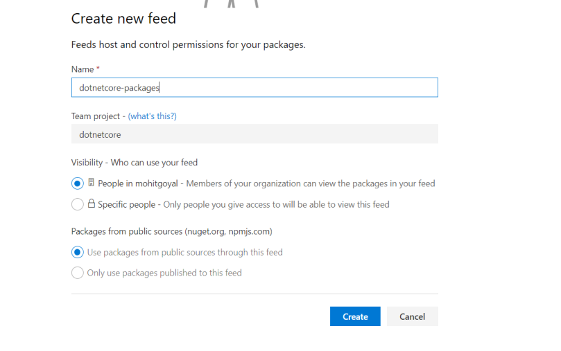 Provide basic details to create a package feed