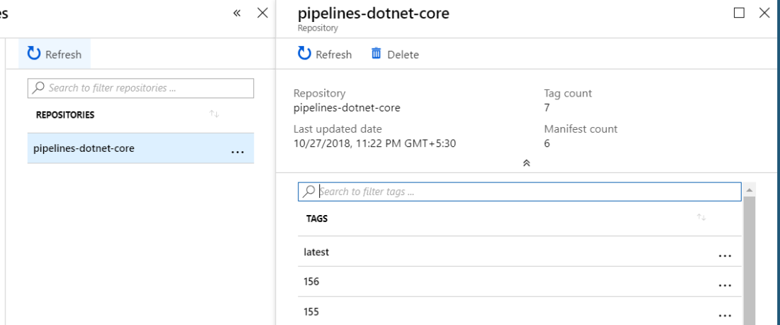 view images stored in the azure container registry