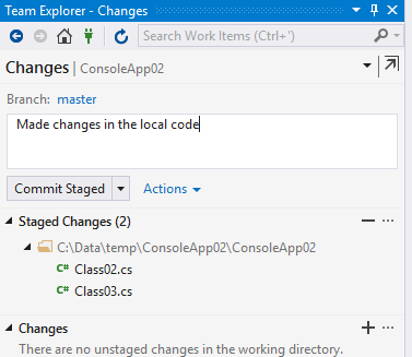 commit changes in the local code