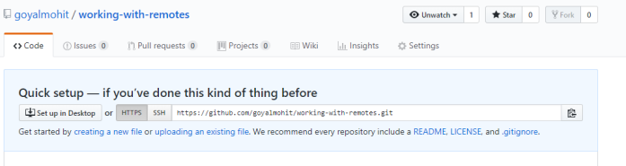 new blank repository in github