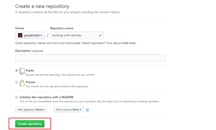 provide details for creating a repository
