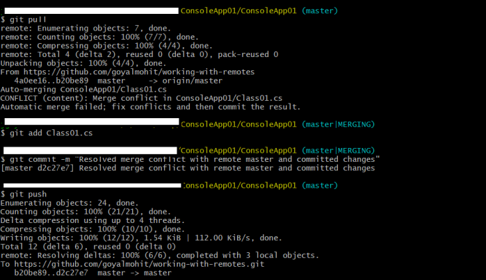 resolve merge conflicts and push code changes to remote