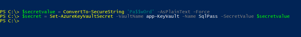 store secrets in azure key vault