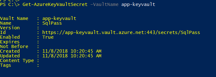 viewing secrets stored in azure key vault