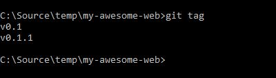 view tags in a git repo