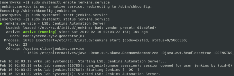 enable and start jenkins server