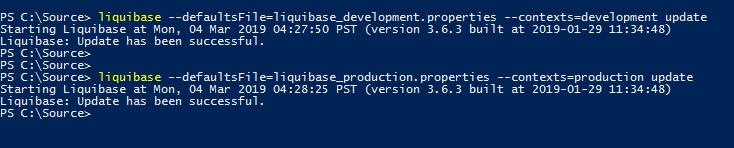 using separate liquibase.properties file for liquibase update
