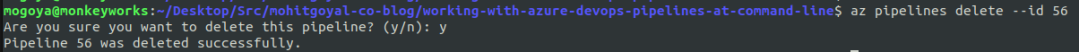 deleting azure pipeline using command line