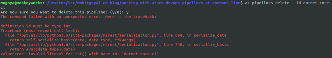 error while deleting az pipeline command