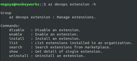 listing help with azure devops extensions