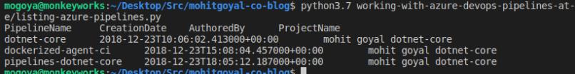 parsing output of az pipelines list using python