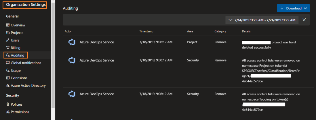 viewing auditing logs in azure devops