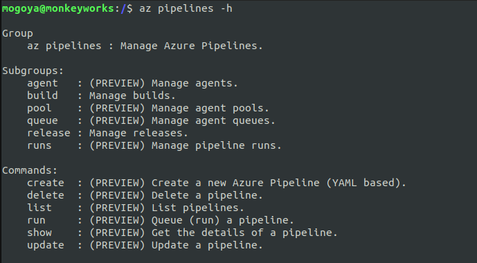 working with az pipelines help