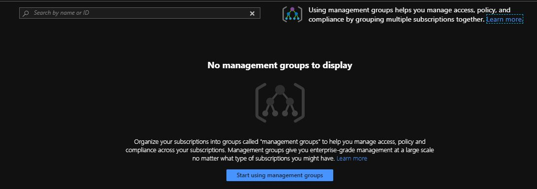 click on the start using management groups