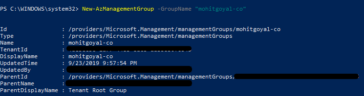 creating management group using powershell