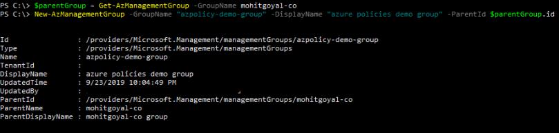 creating sub-level management group