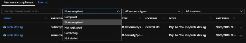 filtering resources list by compliance state
