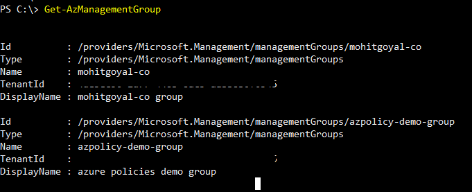 get list of existing management groups