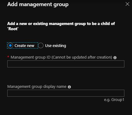 provide id and name for the azure management group