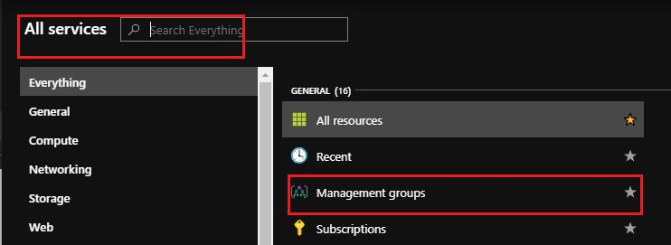 Search and Select Management Groups