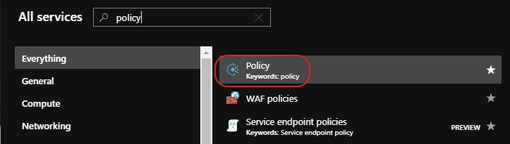 search for azure policy and select the same
