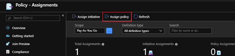 select assign policy from assignment page