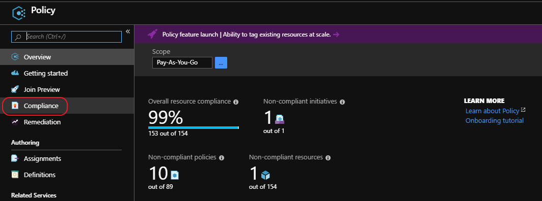 select compliance from azure policy blade