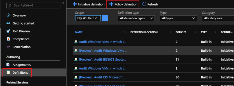 select definition to create new azure policy