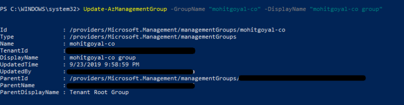 update existing management group