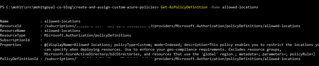 view azure policy definition using powershell