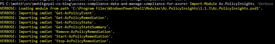 viewing cmdlets offered by azure policy module
